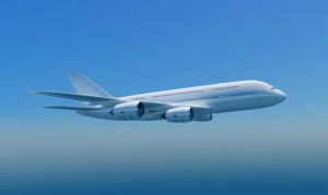 Airbus A380 in the sky, isolated, clipping path included